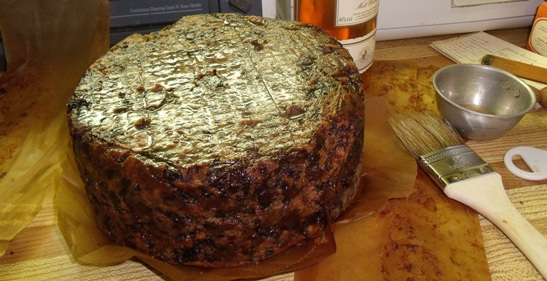 heavy fruit cake, brushed with brandy