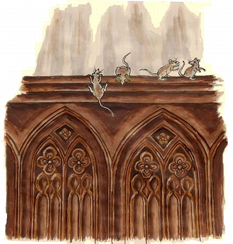 young mice play on the choir stalls